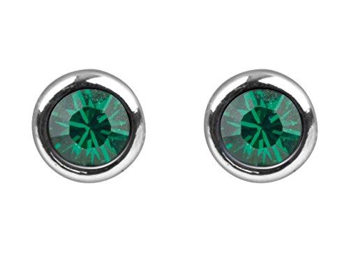 925plata de ley pendientes con Swarovski cristal piedras en color verde esmeralda