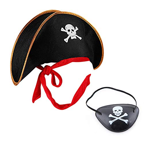 MAKFORT Piratenhut und Piraten Augenklappe Bekleidungszubehör Piratenkapitän Totenkopf Piratenhut Mütze für Herren und Kinder Halloween Kostüm - Augenklappe Pirat Kostüm