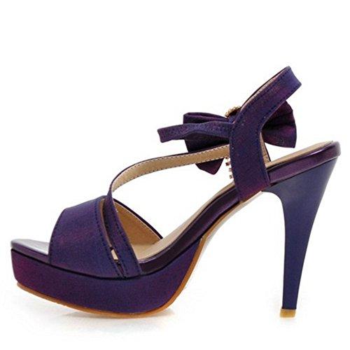 TAOFFEN Elegant Femmes Talons Hauts Sandales Aiguille Peep Toe Plateforme Chaussures De Bowknot Violet