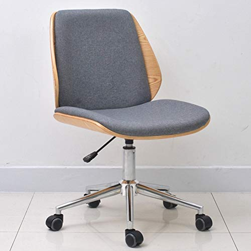 JHSHENGSHI Modern Padded Office Chair/Effect Wood, Grey Fabric Padded Seat and Chrome Base, Wood, A - Bistro Base