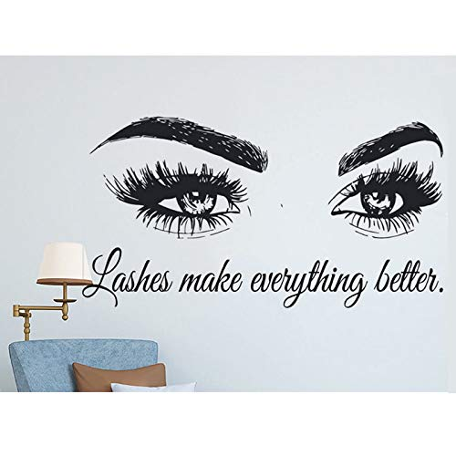 zqyjhkou Wimpern Machen Alles Besser Zitate Wimpern Auge Aufkleber Mädchen Vinyl Wandaufkleber Schönheitssalon Make Up Wandbild Tapete F902 150X80 cm