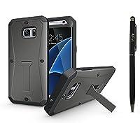 Coque Samsung Galaxy S7 Edge, Alfort 3 en 1 Tank Housse / Etui de Protection en PC Rigide + TPU pour Samsung Galaxy S7 Edge Fonction de Support et Protection de l'écran total Anti-Goutte d'eau ( Gris ) + Stylet Tactile Noir