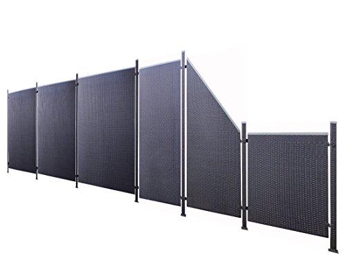 Poly-Rattan Sichtschutz / Zaun-Set 13-teilig schwarz ca. 687cm Prime Tech