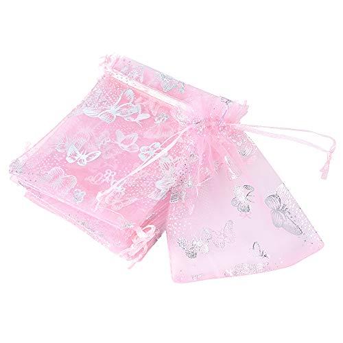 Buondac (9*12cm) 100pz sacchetti organza bustine buste farfalle sacchettini per confetti gioielli matrimonio comunione battesimo festa (rosa)