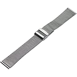Ritche 24mm Mesh Stainless Steel Bracelet Wrist Watch Band Strap Interlock Safety Clasp Silver