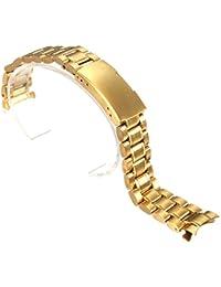 Banda de reloj - SODIAL(R) Banda de reloj de pulsera de acero inoxidable de 18 mm con boton de hebilla dorada de lado de banda