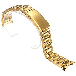 Watch Band - SODIAL(R) 18mm Stainless Steel Bracelet Watch Band Strap Side Push Button Buckle Gold