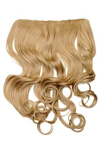 WIG ME UP - Haarteil Clip-In Extension Haarverlängerung breit Hinterkopf 5 Clips lockig Locken dunkles Goldblond Blond hitzebeständig WH5008-180C-25