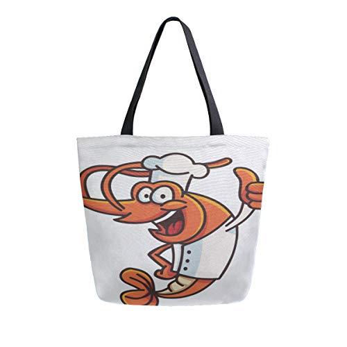 Bass Canvas Cap (Garnelen Lustige Karikatur Tragbare Große Doppelseitige Lässige Leinwand Tragetaschen Handtasche Schulter Wiederverwendbare Einkaufstaschen Reisetasche Für Frauen Männer Lebensmittelgeschäft Reise)