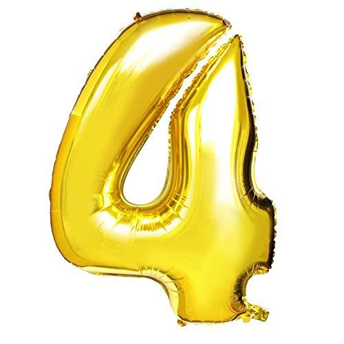 Globos Número Jumbo Número Inflable 0-9 Papel de Aluminio Globos Decoración de Boda Figuras de Fiesta de cumpleaños Globos inflables Suministros de Vacaciones Oro para el número 0-9