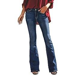 Mujer Vaqueros Pantalones Acampanados Talle Bajo Slim Fit Denim Pantalones Largos Color Sólido Pantalones de Campana Damas Agujero Rasgado Jeans Pantalones de Pierna Ancha
