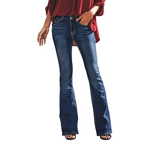 Mujer Vaqueros Pantalones Acampanados Talle Bajo Slim Fit Denim Pantalones Largos Color Sólido...