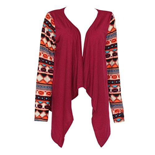Femme Cardigan à Manche Longue Veste Imprimé en Tricot Gilet Asymétrique Manteau Printemps Automne Dark Red