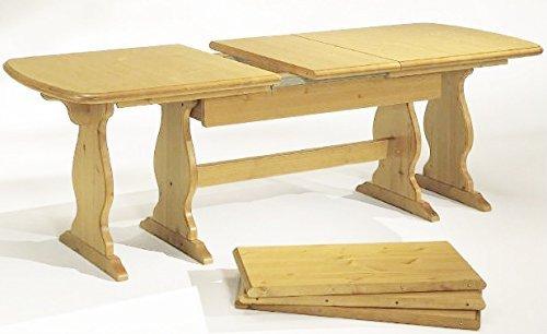 Arredamenti Rustici Tavolo allungabile in Legno massello da 190 a 370 cm - Verniciato in Finitura Naturale