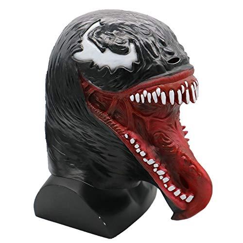 K-Y YK 2018 Movie Venom Mask Latex Props Halloween Dress Up Long Tongue Venom Horror Mask Extraordinary Spider-Man Mask Headgear (Tooth)