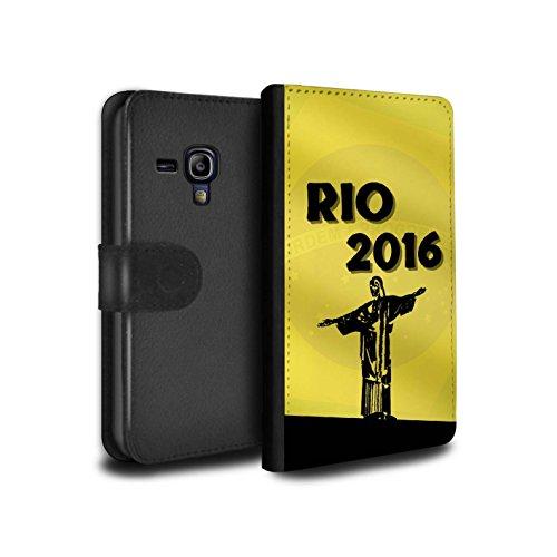 Olympia-kollektion (STUFF4 PU-Leder Hülle/Case/Tasche/Cover für Samsung Galaxy S3 Mini / Gelb Muster / Rio Olympisch Kollektion)
