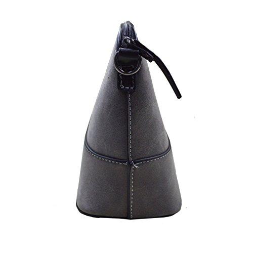 Milya Fashion Damen Handtasche Crossbody Schulter Messenger Tasche dull polnischen PU Leder, Retro-Paket Small Umhängetasche Handtasche Grau