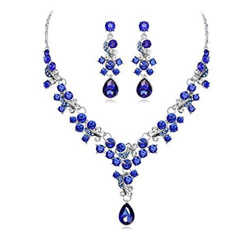 Caomoa Nachahmung Diamant Legierung Perlenkette Ohrringe Anhänger Set Hochzeit Schmuck Geschenk