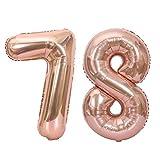 Palloncini in foglio di alluminio con numero di grandi dimensioni da 40 pollici Matrimonio Decorazione per feste di buon compleanno Palloncini in oro rosa Forniture (Colore: oro rosa)