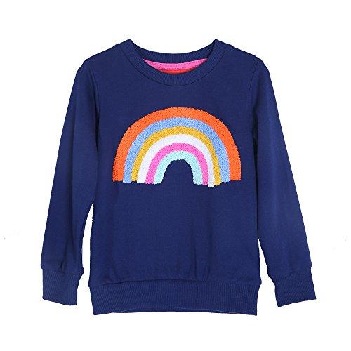 Mooler Mädchen Langarm Strick Hoodie Regenbogen-Muster Baumwolle Sweatshirts, 3 Jahre (Crewneck Pullover Baumwolle Hohe)