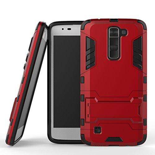 WindCase LG K7 Case, LG Tribute 5 Hülle, Hybrid Tasche Heavy Duty Defender [Drop Resistance] Dual Layer TPU +PC Case Ständer Schutzhülle für LG K7 / Tribute 5 Rot (Lg Tribute Defender Case Bling)
