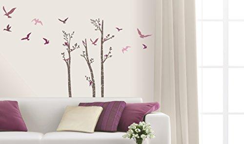 Sticker für Wand – Wandtatoos für Kinderzimmer, Wohnzimmer, Schlafzimmer, Babyzimmer - Wanddeko Modern – 2 x 70x50cm Wandsticker Deko Set Folien Baum Vogel