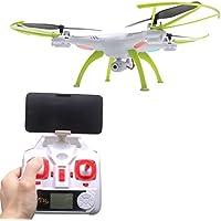 Vococal - SYMA X5HW 2,4 G WiFi FPV RC Drone Quadcopter con Luz LED y 0.3MP Cámara HD - 4 Canales de Eje 6 Girocompás - Transmisión en Tiempo Real Juguetes de Modelo de Avión Helicóptero