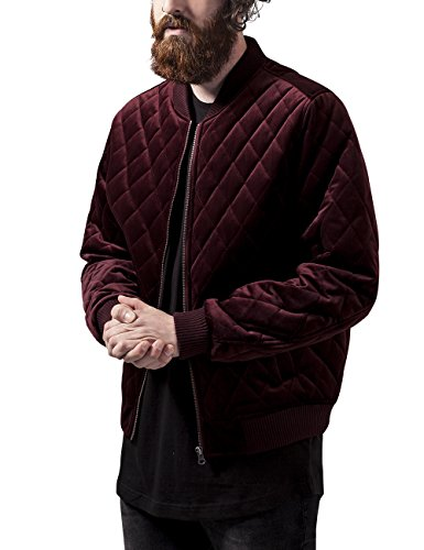 Urban Classics Herren Jacke Diamond Quilt Velvet Jacket, Rot (Burgundy 606), Small (Herstellergröße: S)