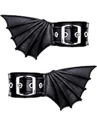 Restyle Bat Wings Ankle Cuffs Gothic Nugoth Bracelets Vampire Vegan Faux Leather