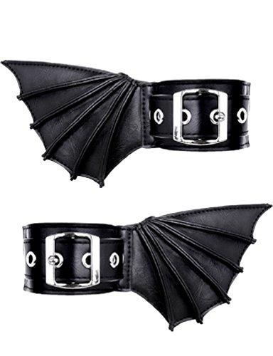 Restyle Fledermaus Flügel Fußmanschetten Gothic Nugoth Armbänder Vampire Vegan Kunstleder
