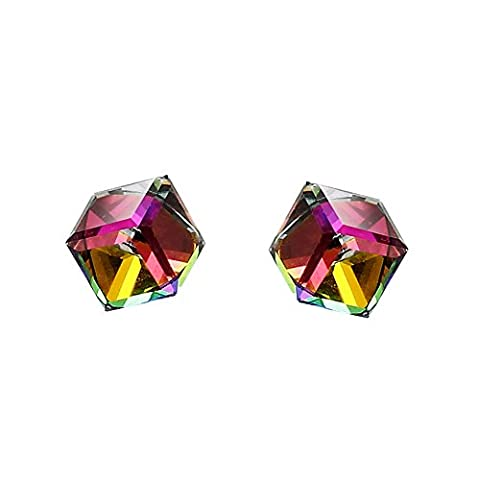 FANSING Bijoux Cadeau Cube Solitaire Aurores Boréales Ab Cristal Clous Et Puces Boucles D'Oreilles Argent 925/1000 Femme 0.7*0.7cm