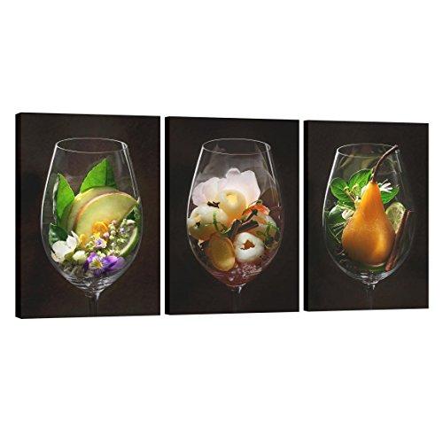 Bilderwelten Leinwandbild 3-teilig - Weinaromen im Weinglas - Hoch 3:2, 3X 60x40cm