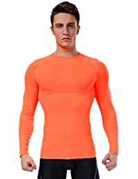Hombre apretado Base capa de compresi¨®n de manga larga top de la camisa de Deportes