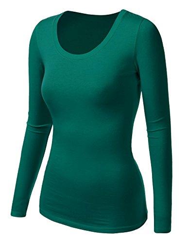 Damen Frauen Langarm T Shirt - Basic TShirt - Basis Bluse - Unterhemd - Tops Grün