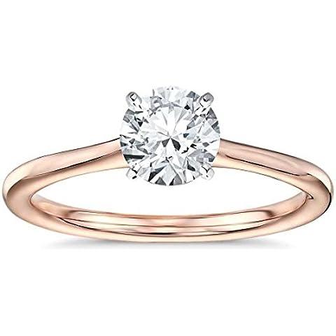 Lilu Jewels 1.00carati Forever One brillante Moissanite anello solitario in argento Sterling 925placcato in oro rosa