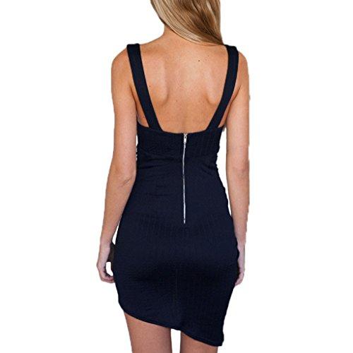 ABILIO - vestito donna sexy minivestito aderente asimmetrico abito sera drappeggio Blu