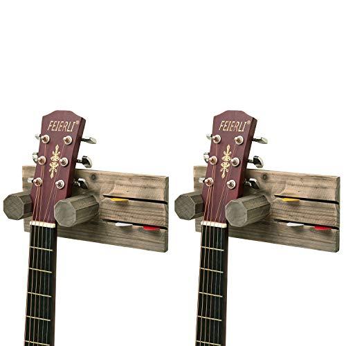 MyGift Vintage Gitarrenhalter mit Plektrumhalter, Holz, zur Wandmontage, Grau, 2 Stück -