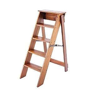 escabeau multifonctionnel pliant en bois solide de chaise de mode chaise d 39 escalier avec 5. Black Bedroom Furniture Sets. Home Design Ideas