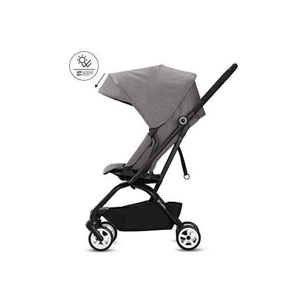 CYBEX Gold Eezy S Twist Compact Pushchair, 360° Rotatable Seat Unit, Ultra-Compact, From Birth to 17 kg (approx. 4 years), Lavastone Black  Sturdy, High-quality Compact Pushchair for newborns up to approx. 17 kg (approx. 4 years) with unique rotatable seat unit - Including rain cover for optimum use in all weather conditions Quick and easy change of direction with 360° rotatable seat unit, Comfortable sitting position thanks to stepless adjustable reclining backrest with lie-flat position, Puncture proof tyres and all-terrain wheel suspension Simple folding with one-hand folding mechanism for compact travel size (LxWxH: 26 x 45 x 56 cm), Extremely manoeuvrable due to narrow wheelbase, Can also be used as 3-in-1 travel system with separately available CYBEX and gb infant carriers and the baby cocoon S (sold separately) 7