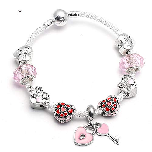 9f0b90fb30f1 GSYDSZ Color Rosa Germinate Love Haert Charm Pulsera con Cuentas de Cristal  de Murano Fina Pulsera