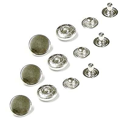 Boutons-pression Fermeture à bouton-pression en cuir craft Lovabledog Manteau de couture Sacs - 100 sets 12,5 (633) Argenté)