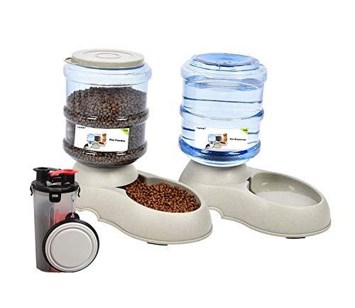 Yizish Automatischer Futterspender für Haustiere, 3,5 l + Wasserflasche für Haustiere, für den Außenbereich, Haustier Futterspender mit Wasser für Hunde und Katzen