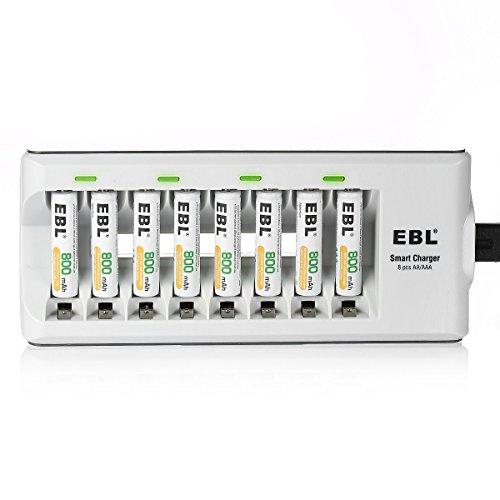 EBL Akku Ladegerät für AAA AAA NI-MH NI-CD Akku Batterieladegerät inkl. 8X AAA Akku 800mAh Nicd-stick