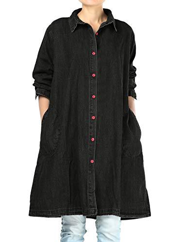 Mallimoda Women's Buttons Denim Shirt Blouse Plus Size Jeans Jacket Black M