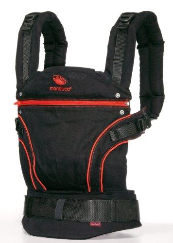 manduca Babytrage BlackLine RadicalRed (Auslaufmodell) Bauchtrage Hüft- und Rückentrage, schwarz/rot