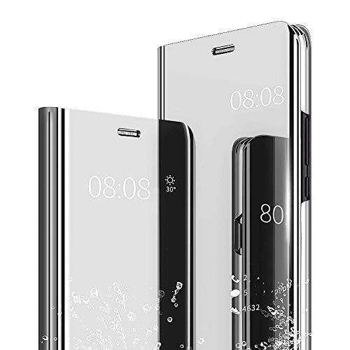 "Mirror Makeup Coque Samsung Galaxy J2 Prime/Galaxy Grand Prime G530 5.0"" YKTO Luxe Galvanoplastie Translucide Miroir Téléphone Étui Stand Cover Anti-Fall Mobile 360°Protection Housse Gris"