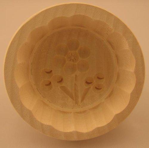 Hofmeister Holzwaren Butterform, rund, 60 Gramm, Blume 3, aus Ahorn-Holz