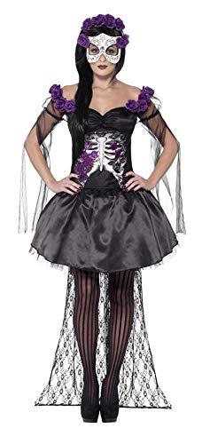 er Toten Senorita Kostüm, Oberteil, Rock, Rosen Stirnband und Latex Maske, Größe: L, 43737 ()