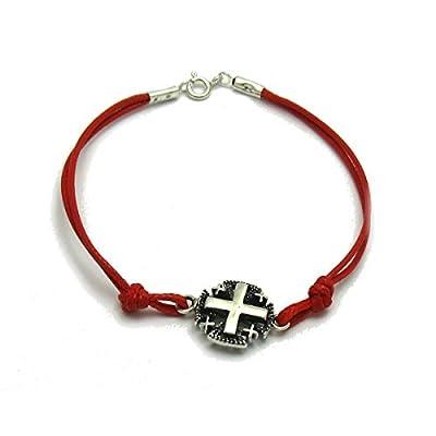 Bracelet en argent massif 925 Croix Jerusalem avec rouge corde