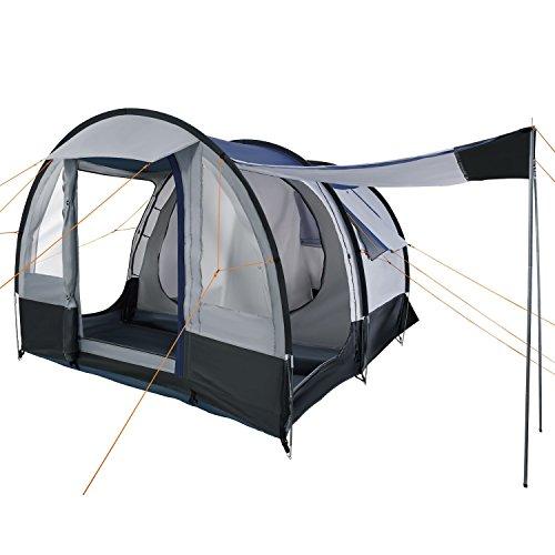 CampFeuer Campingzelt für 4 Personen | Großes Familienzelt mit 3 Eingängen und 2.000 mm Wassersäule | Tunnelzelt | schwarz/blau / grau | Gruppenzelt | So Macht Camping Spaß!